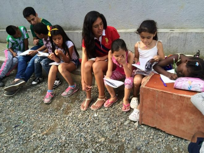 Karla volunteering with children in Colombia