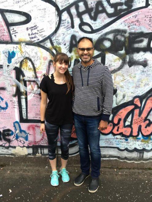Ashley with her teacher, Faisal Mohyuddin, in Belfast